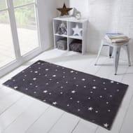 Dreamscene Star Print Rug - Charcoal