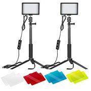 LIGHTNING DEAL - Neewer 2 Packs Dimmable LED Video Light with Adjustable Tripod