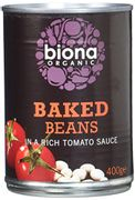 Biona Organic Baked Beans in Tomato Sauce 400g (Pack of 6)