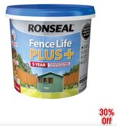 SAVE 30% on Ronseal Fence Life plus 5L Sage