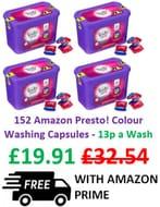 Presto! Laundry Capsules Colour, 4 Packs X 38 Washes