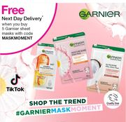 Members Only Free next Day Delivery Buy£5 Garnier Sheet Masks1/3 &Star Buy Offer