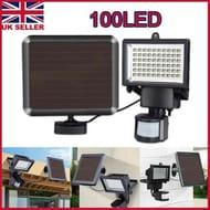 100 LED Bright Solar Powered PIR Sensor Flood Security Light Outdoor