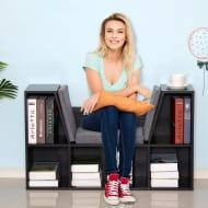 Black Bookcase Storage W/Particle Board Grey Sponge Linen Seating