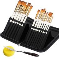 15Pcs Paint Brushes for Acrylic, Oil, Watercolour, Gouache