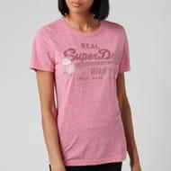 Superdry Women's Vl Tonal Glitter T-Shirt - Pink Snowy