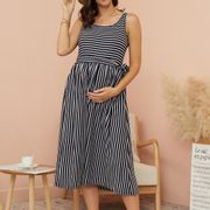 Trendy Striped Sleeveless Maternity Dress