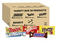 M&Ms, Snickers, Twix & More, Variety Bulk Box, 30 Bars, 1.4kg