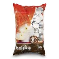 Bolsius 8 Hour Burning Tealights, Pack of 50, White, 7x18x32 Cm