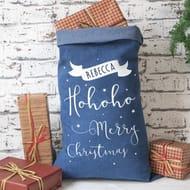 Pre - Personalised Denim Christmas Sack