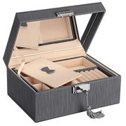 SONGMICS JBC232GY PU Jewellery Box with 2 Tier Storage and Removable Hinged