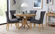 Hudson round Oak Extending Dining Table with 4 Bewley Slate Fabric Chairs