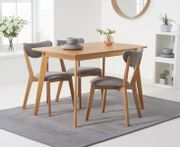 Sacha 120cm Dining Table with Sacha Grey and Oak Cushion Seat Chairs