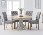 Epsom 120cm Oak and Grey Dining Table with Claudia Fabric Chairs