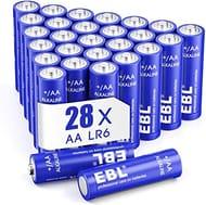 EBL AA Batteries 1.5V AA Alkaline Battery Pack of 28