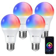 Smart RGB LED Dimmable WiFi Light Bulbs E27, 4 Pack