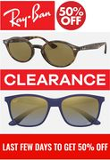 Ray-Ban Clearance - up to 50% off Sunglasses + Free Delivery | LAST FEW DAYS!