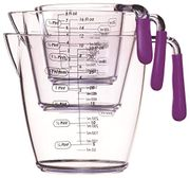 KitchenCraft CWMJUGSETPUR Colourworks 3 Piece Measuring Jug Set - Purple