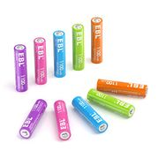EBL 10 X AAA 1100mAh Colourful Ni-Mh Rechargeable Batteries with Storage Case
