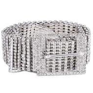 Women Silver Shiny Diamond Crystal Ladies Rhinestone Belt with £4 off Coupon