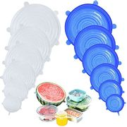 12 Pack of Silicone Food Covers, Expandable to Fit