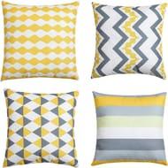 Set of 4 Yellow Geometric Cushion Covers 45cm X 45cm