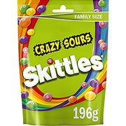 Price Drop! Skittles Sweets, Crazy Sours Sweets, Family Size Pouch, 196 G