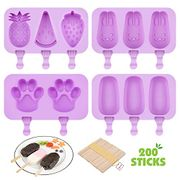 50% off Voucher for 4Pcs Silicone Popsicle Mould with Lids and 200 Wooden Sticks