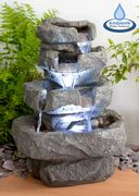 H36cm Shubunkin Spills 4-Tier Cascading Water Feature with Lights by Ambient