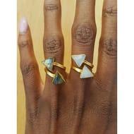 'Direction' 18K Gold Vermeil Adjustable Rainbow Moonstone Ring