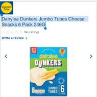 Dairylea Dunkers Jumbo Tubes Cheese Snacks 6 Pack 246G CLUBCARD PRICE
