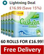 AMAZON LIGHTNING DEAL - 60 Cusheen Toilet Rolls Quilted 3 Ply - APPLE