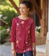 Women's Red Floral Print Top