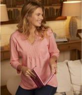 Women's Pink Crochet Detail Top - Three-Quarter Sleeve