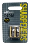 WHSmith Assorted Colour Metallic Double Hole Pencil Sharpener