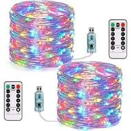 LIGHTNING DEAL - 2 Pack Plug in 200LED Fairy String Lights