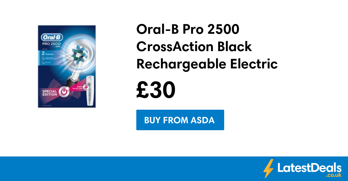 Oral B Pro 2500 Crossaction Black Rechargeable Electric