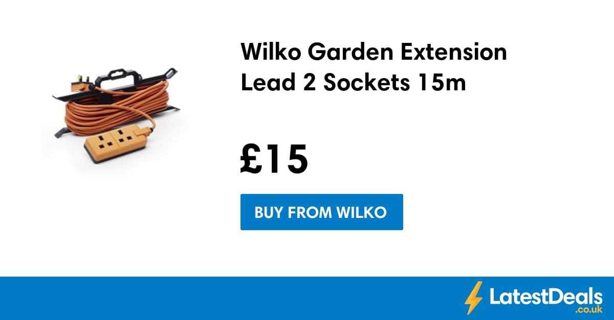 wilko garden extension lead 2 sockets 15m 15. Black Bedroom Furniture Sets. Home Design Ideas